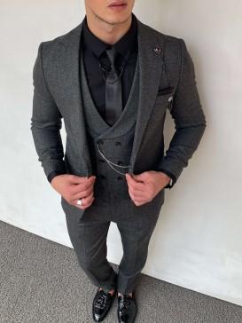 Slim Fit İtalyan Kesim Pamuk Spor Takım Elbise Koyu Gri