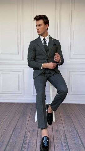 Slim Fit İtalyan Kesim İnce Ekose Gri Takım Elbise