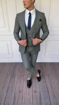 Slim Fit İtalyan Kesim Pamuk Örme Takım Elbise Açık Gri