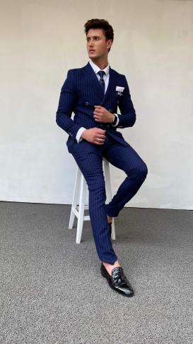 Slim Fit İtalyan Kesim Kruvaze Çizgili Lacivert Takım Elbise
