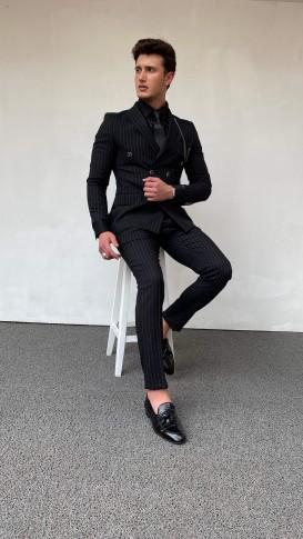 Slim Fit İtalyan Kesim Kruvaze Çizgili Takım Elbise Siyah
