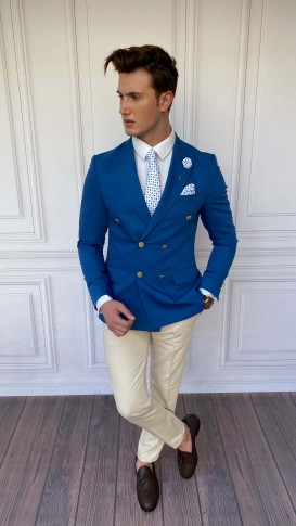 Slim Fit İtalyan Kesim Pamuk Kruvaze Mavi Tek Ceket