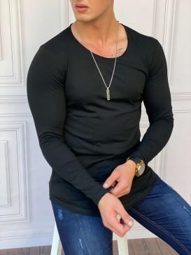 Slim Fit Oval Kesim Uzun Kollu Siyah Pamuk Basic Tshırt