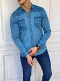 Slim Fit İtalyan Kesim Yıkamalı Mavi Kot Gömlek