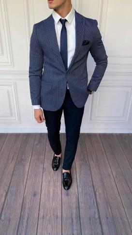 Slim Fit İtalyan Kesim Desenli Lacivert Tek Ceket