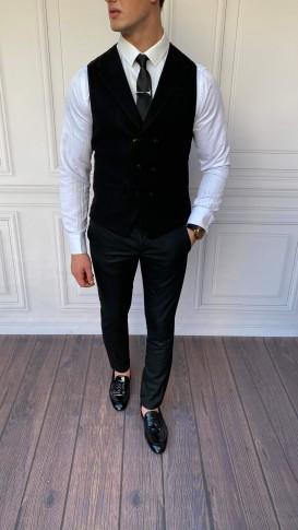 Slim Fit İtalyan Kesim Kaşe Ceket Yaka Siyah Yelek