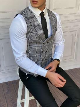 Slim Fit İtalyan Kesim Ceket Yaka Gri Ekose Yelek