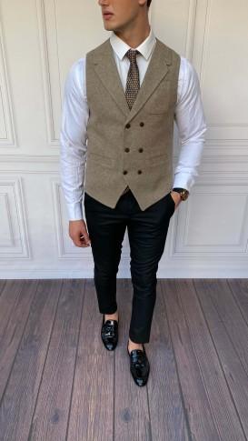 Slim Fit İtalyan Kesim Ceket Yaka Kahverengi Yelek