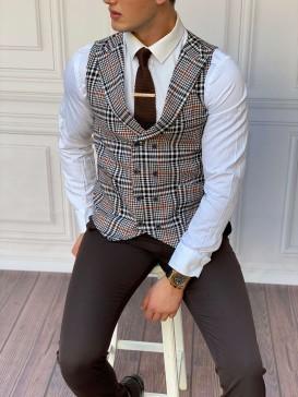Slim Fit İtalyan Kesim Ceket Yaka Kahverengi Ekose Yelek