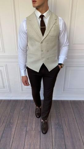 Slim Fit İtalyan Kesim Ceket Yaka Krem Yelek