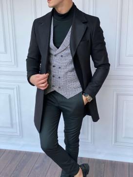 Slim Fit İtalyan Kesim A Kalite Keçe Kaşmir Siyah Kaban