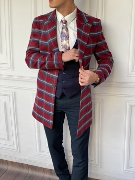 Slim Fit İtalyan Kesim Ekose Kaşe Kaban Bordo
