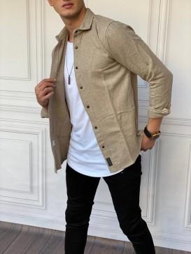 Slim Fit İtalyan Kesim Krem Oduncu Gömlek
