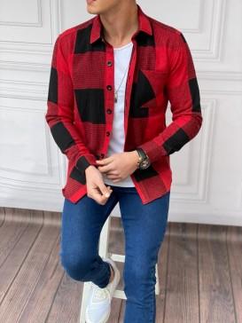Slim Fit İtalyan Kesim Desenli Oduncu Gömlek