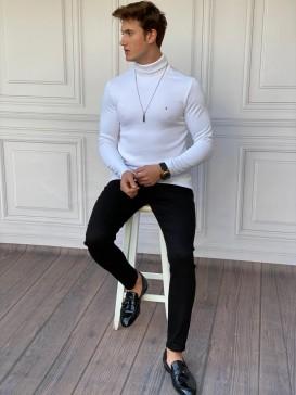 Slim Fit İtalyan Kesim Tam Boğazlı Beyaz Kazak