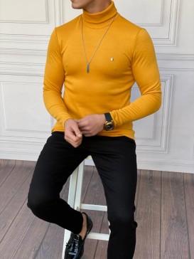 Slim Fit İtalyan Kesim Tam Boğazlı Sarı Kazak