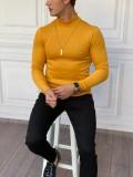 Slim Fit İtalyan Kesim Yarım Balıkçı Sarı Boğazlı Kazak