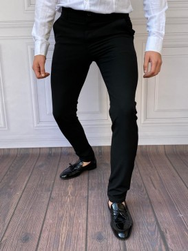 Slim Fit İtalyan Kesim Siyah Kumaş Pantolon