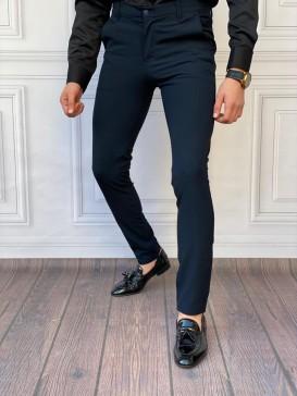 Slim Fit İtalyan Kesim Lacivert Kumaş Pantolon