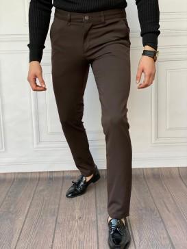 Slim Fit İtalyan Kesim Kahverengi Kumaş Pantolon