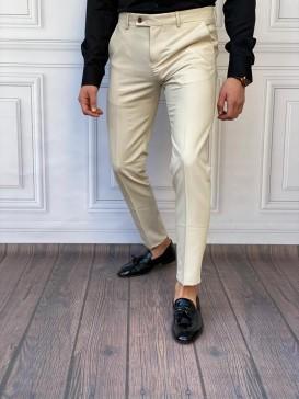 Slim Fit İtalyan Kesim Krem Kumaş Pantolon