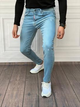 Slim Fit İtalyan Kesim Buz Mavisi Kot Pantolon,
