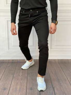 Slim Fit İtalyan Kesim Düz Siyah Kot Pantolon