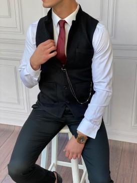 Slim Fit İtalyan Kesim Dik Yaka Siyah Kaşe Yelek