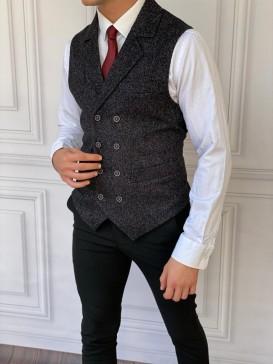 Slim Fit İtalyan Kesim Ceket Yaka Yelek