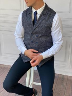 Slim Fit İtalyan Kesim Ceket Yaka Lacivert Yelek