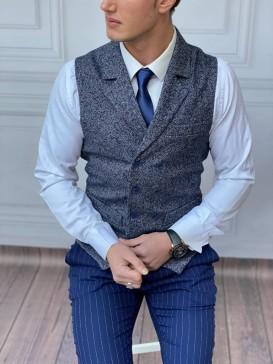 Slim Fit İtalyan Kesim Ceket Yaka Mavi Yelek