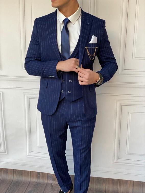 Slim Fit İtalyan Kesim Çizgi Detaylı Takım Elbise Lacivert