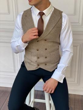 Slim Fit İtalyan Kesim Ceket Yaka Vizon Kaşe Yelek