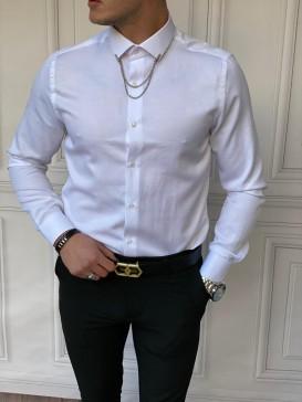 Slim Fit Pamuk Örme Bebe Yaka Beyaz Gömlek