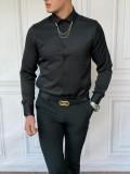 Slim Fit Pamuk Örme Bebe Yaka Siyah Gömlek