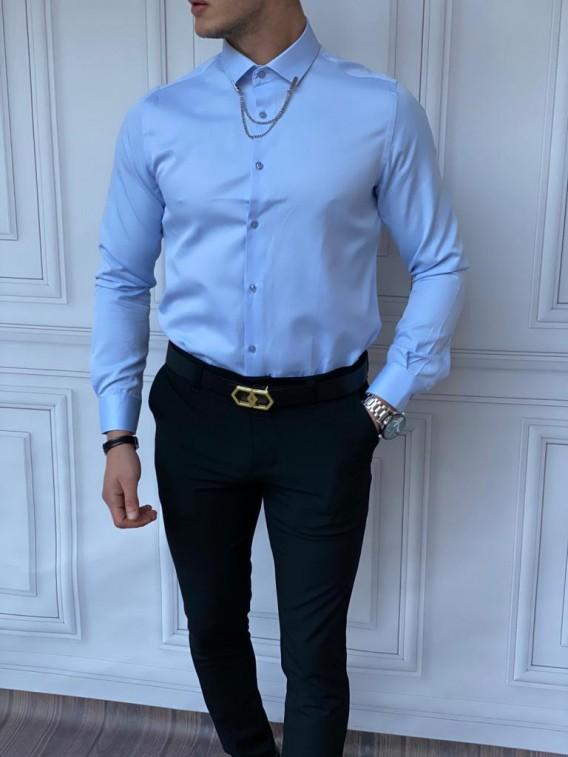 Slim Fit Pamuk Örme Bebe Yaka Bebe Mavisi Gömlek