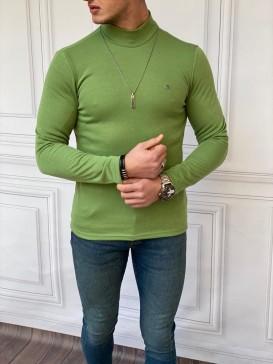 Slim Fit İtalyan Kesim Yarım Balıkçı Fıstık Yeşili Boğazlı Kazak