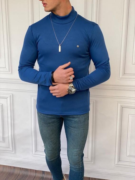 Slim Fit İtalyan Kesim Yarım Balıkçı Parlament Mavisi Boğazlı Kazak