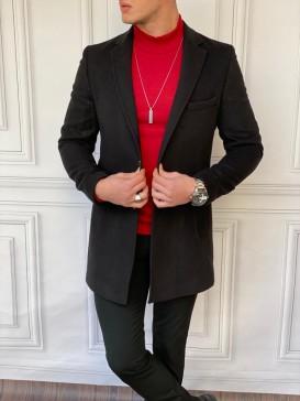 İtalyan Kesim Ceket Yaka Siyah Kaşe Kaban