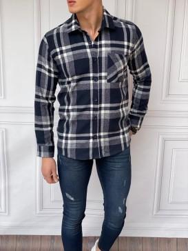 Slim Fit Oduncu Desenli Lacivert Gömlek