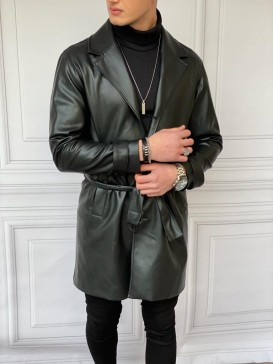 Oversize Yüksek Kalite Kemer Detaylı Uzun Deri Palto