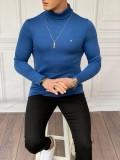 Slim Fit İtalyan Kesim Tam Boğazlı Mavi Kazak