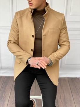 Slim Fit Yüksek Kalite Kısa Model Yün Kaşmir Taba Kısa Kaban