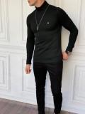 Slim Fit İtalyan Kesim Tam Boğazlı Siyah Kazak