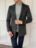 Slim Fit İtalyan Kesim Ceket Yaka Antresit Yün DetaylıKaşe Kaban