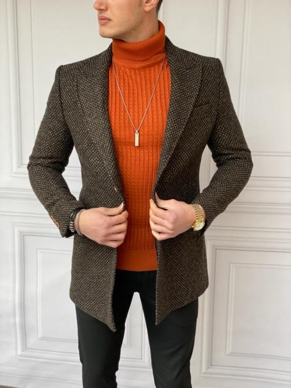 Slim Fit İtalyan Kesim Ceket Yaka Kahverengi Örme Kaşe Kaban