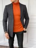 Slim Fit İtalyan Kesim Ceket Yaka Siyah Örme Kaşe Kaban