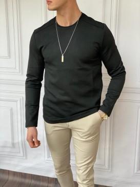 Slim Fit İtalyan Kesim Pamuk Desenli Siyah Sweatshırt