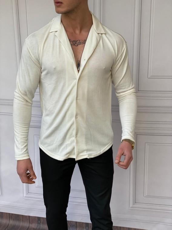 Slim Fit %100 Pamuk Triko Kumaş Beyaz Gömlek