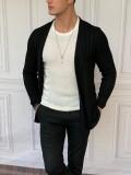 Slim Fit Uzun Model Pamuk Likra Siyah Hırka